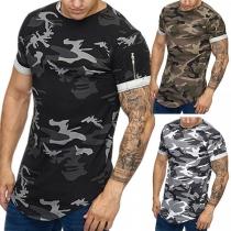 Casual T-shirt voor Heren met Ronde Hals Ritssluiting en Camouflagepatroon