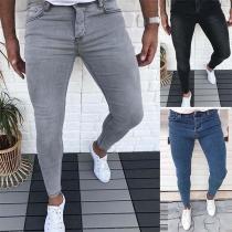 Moderne Strakke Jeans met Lage Taille voor Heren