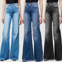 Moderne Jeans met Wijde Pijpen en Hoge Taille