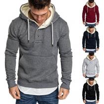 Moderne Hoodie voor Heren met Effen Kleur en Lange Mouwen