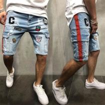 Moderne Knielange Shorts voor Heren met Borduursel en Zijzakken
