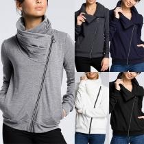 Moderne Sweater met Effen Kleur Lange Mouwen en Schuine Rits