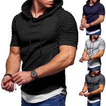 Modern T-shirt voor Heren met Korte Mouwen en Capuchon