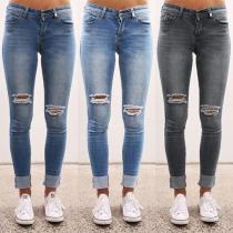 Moderne Gescheurde Jeans met Hoge Taille