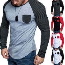 Modern Sweatshirt voor Heren met Contrasterende Kleuren Lange Mouwen en Ronde Hals