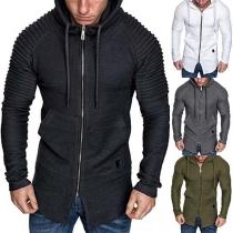Moderne Hoodie voor Sportjas met Effen Kleur Lange Mouwen en Capuchon