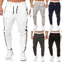 Moderne Sportbroek voor Heren met Contrasterende Kleuren en Elastische Taille