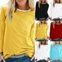 Modern Sweatshirt met Contrasterende Kleuren Ronde Hals en Lange Mouwen