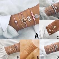 Modern Armbandset met Hangers in de vorm van Lotusbloem en Hart 4 Stuks / Set