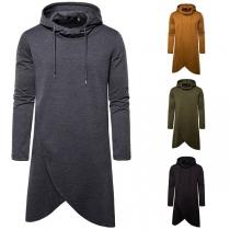 Moderne Hoodie voor Heren met Effen Kleur Lange Mouwen en Onregelmatige Zoom
