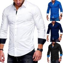 Modern Overhemd voor Heren met Effen Kleur Polokraag en Lange Mouwen