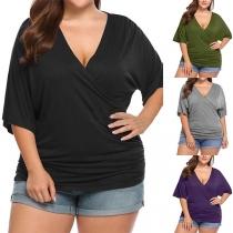 Sexy Plus Size T-shirt met Effen Kleur Korte Mouwen en V-hals