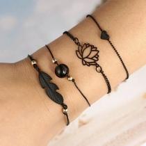 Modern Armbandset met Stijl Lotusbloem en Bladeren 4 Stuks / Set