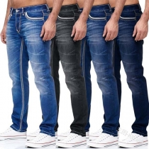 Casual Jeans voor Heren met Slanke Pasvorm en Middelhoge Taille