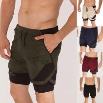 Modern Sportshort voor Heren met Contrasterende Kleuren en Trekkoord in de Elastische Taille