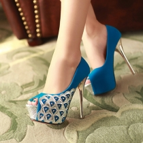 Fashion Super High-heeled Platform Peep Toe Shoes Pumps
