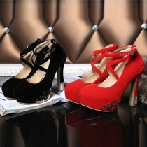 Fashion Round Toe Thick High-heeled Wedding Party Shoes