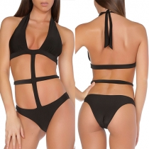 Sexy Diepe V-nek Opengewerkt Halter One-piece Bikini Zwempak