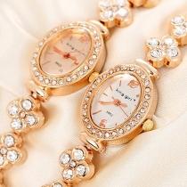 Mode Bergkristal Ovaal Wijzerplaat Armband Horloge