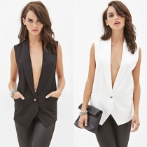 Mode Kant Gespleten Mouwloos Blazer Vest