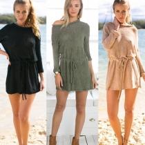 Mode Eenkleurig Lang Mouw Samengevat Taille Gebreid Sweater Jurk