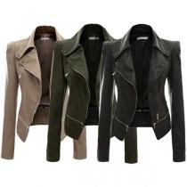 Mode Eenkleurig Lang Mouw Revers Slank Passend PU Leer Motor Jacket(Valt klein uit)