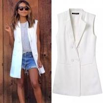 Mode Effen Kleur Dubbele-knopenrij Mouwloos Blazer Vest