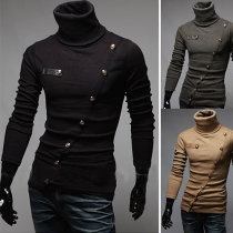Casual Turtleneck Schuin Opening Heren Gebreid Sweater