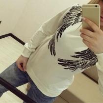 Modern Ronde Nek Lange Mouwen Vleugel  pailletten sweatshirt(De maat valt klein)