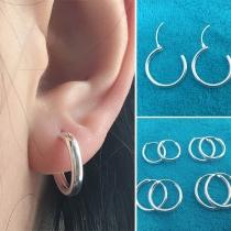 Eenvoudig Stijl Zilver Ringvormige Oorbellen