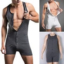 Modern Effen Kleur Mouwloos Ronde Nek Sport Heren Bodysuit