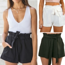 Modern Effen Kleur Hoge Taille Casual Taille Band Shorts