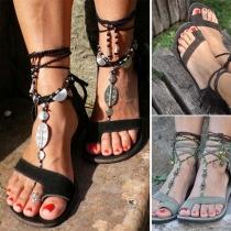 Sandalen in Boheemse Stijl met Platte Hakken en Kwastjes