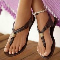 Moderne Sandalen met Effen Kleur Platte Hakken en Bandje
