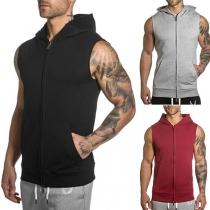 Moderne Mouwloze  Vest voor Heren met Effen Kleur en Capuchon
