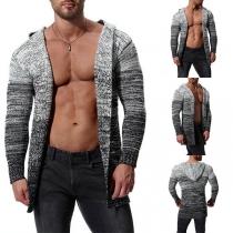 Gebreide Vest voor Heren  met Gemengde Kleuren en Lange Mouwen