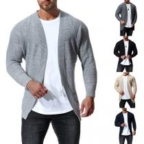 Moderne Gebreide Vest voor Heren met Effen Kleur en Lange Mouwen