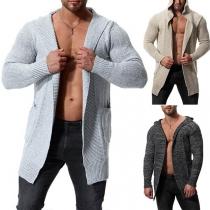 Moderne Gebreide Vest voor Heren met Effen Kleur Lange Mouwen en Capuchon