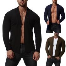 Modern Gebreide Vest voor Heren met Effen Kleur en Lange Mouwen