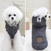 Moderne Mouwloze Vest voor Huisdieren met Effen Kleur en Capuchon