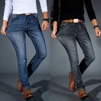 Moderne Jeans voor Heren met Middelhoge Taille en Slanke Pasvorm