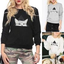 Leuk Sweatshirt met Kattenmotief Lange Mouwen en Ronde Hals