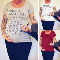 Modern Bedrukt Zwangerschaps-T-shirt met Korte Mouwen  en Ronde Hals