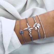Modern Zilveren Armbandset met Ingelegd Strass 4 Stuks/Set