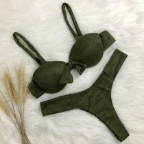 Sexy Bikiniset met Vrije Rug Effen Kleur en Strikje