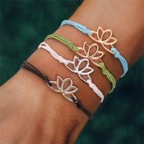 Modern Gevlochten Armband met Lotusbloemhanger