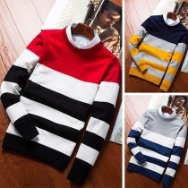 Moderne Sweater voor Heren met Lange Mouwen Ronde Hals en Contrasterende Kleuren