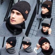 Moderne Gebreid Driedelige Set Muts + Sjaal + Handschoenen