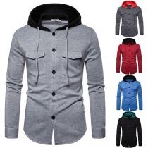 Moderne Hoodie voor Heren met Lange Mouwen Contrasterende Kleuren en Capuchon