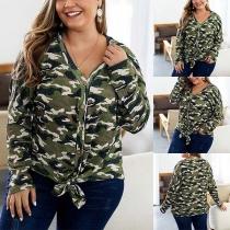 Moderne Plus Size Vest met Lange Mouwen en Camouflagepatroon